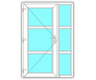 3 Vak glasdeur links met 3 Vak zijlicht