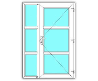 3 Vak glasdeur rechts met 3 Vak zijlicht