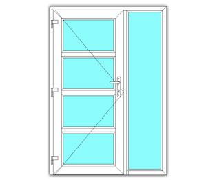 4 Vak glasdeur links met zijlicht