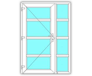 4 Vak glasdeur links met 4 Vak zijlicht