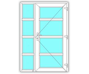 4 Vak glasdeur rechts met 4 Vak zijlicht