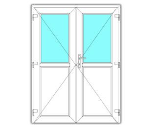 Dubbel halfglasdeur rechts