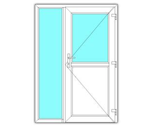 Halfglasdeur rechts met zijlicht