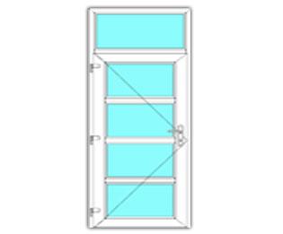4 Vak Glasdeur links met bovenlicht