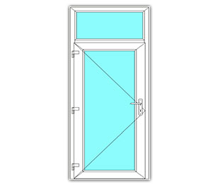 Glasdeur links met bovenlicht