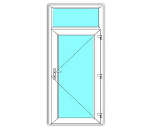 Glasdeur rechts met bovenlicht