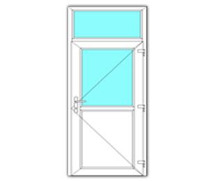 Halfglasdeur rechts met bovenlicht
